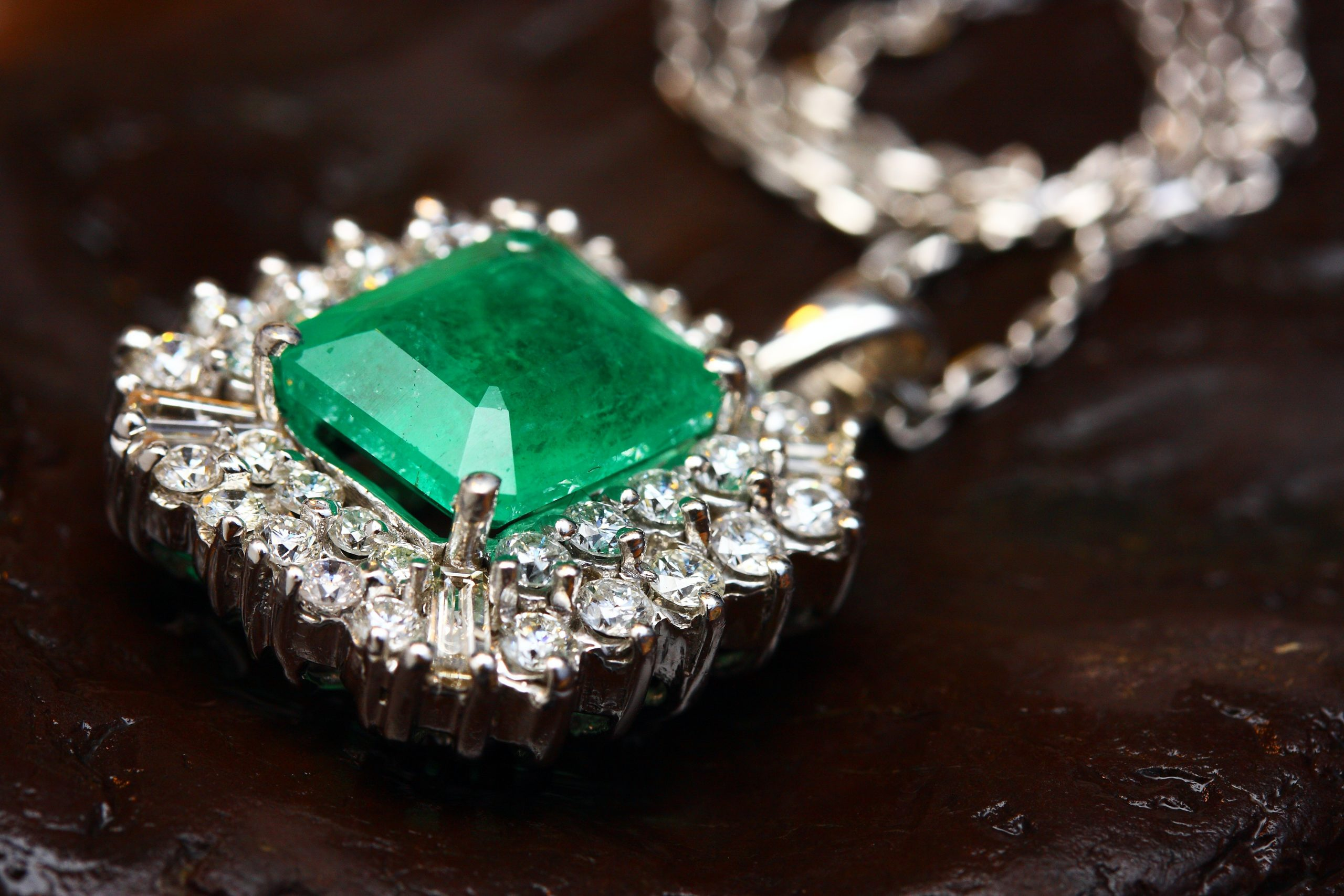 emerald halo diamond pendant